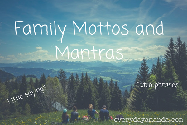 Family mottos or mantras.  Catch phrases or little sayings you say to your kids.