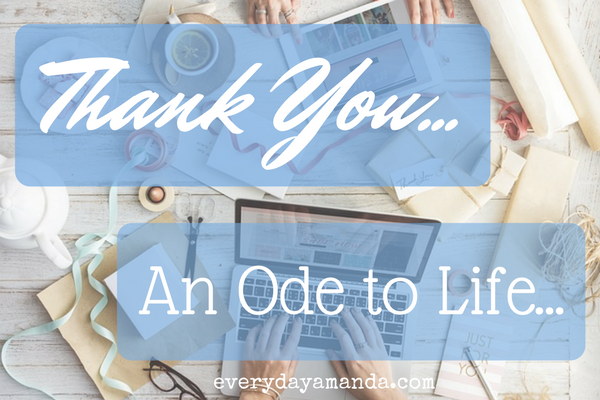 Thank You... An Ode to Life... The thank yous to this crazy mom life.